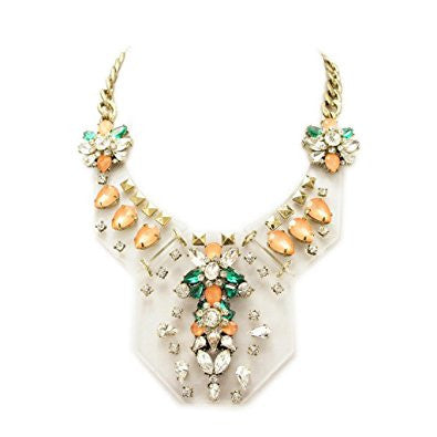 Multicolor Golden Tone Resin Rhinestone Fashion Necklace