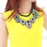 Knitting Clear Crystal Green Rhinestone Necklace