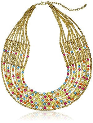 Multicolor Bead Neck Strand Necklace