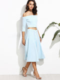 A Line Blue Skirt and Crop Top in Light Blue