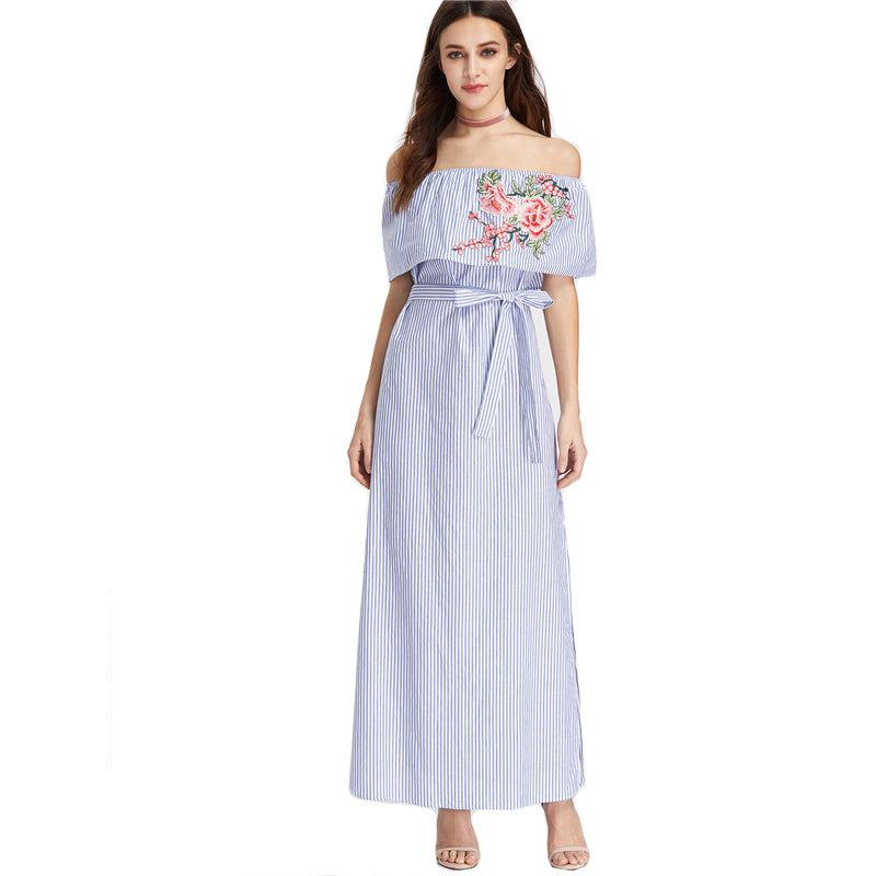 9a045df20056 Embroidered Flounce Belted Striped Off the Shoulder Half Sleeve Blue D –  BodyConfetti