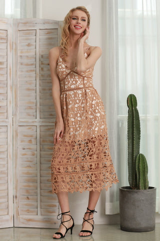 Padded Hollow Deep V Out Lace Dress Lined Summer