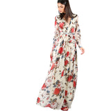 A Line Maxi Multicolor Flower Print Cuffed Long Sleeve V Neck Belted Wrap Dress