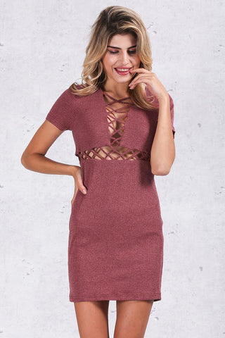 Autumn Winter Knitted Lace Up Short Sleeve Dress