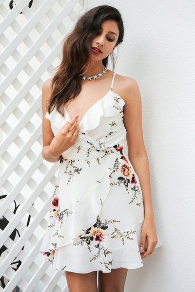 A-line Ruffles Floral Print V Neck Summer Dress