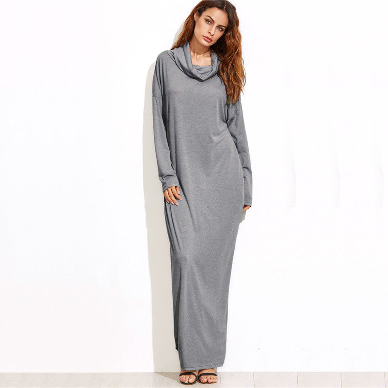 2747dae00f4ed T-shirt Dresses Grey Cowl Neck Long Sleeve Drop Shoulder Maxi Dress With  Pockets