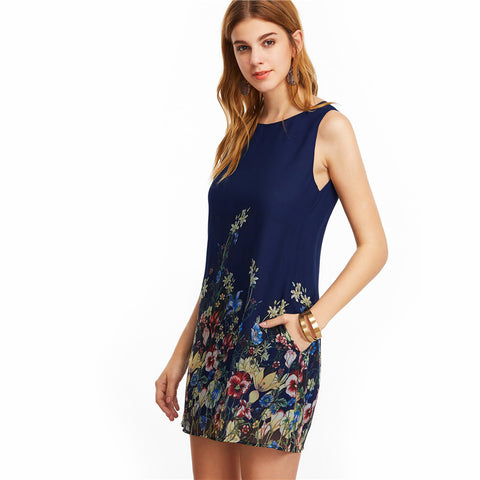 New Arrival Navy Buttoned Keyhole Back Flower Print Scoop Neck Sleeveless A Line Dress