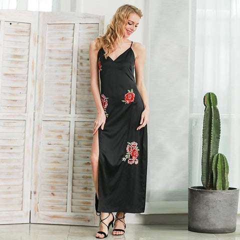 Satin Embroidery Floral Black Dress V Neck Sleeveless High Split Long Dress Summer