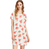 Allover Watermelon Print Frayed Dot Tee Casual White Short Sleeve T-shirt Dress