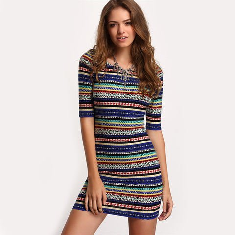 Summer Dresses Club Multicolor Vintage Print Round Neck Half Sleeve Bodycon Dress