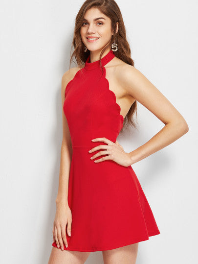 Red Halter Scallop Trim Skater Dress