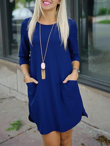Casual Party Dress in Blue with Pockets