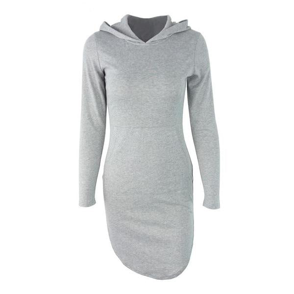 Spring Gray Hooded Casual Long Sleeve bodycon New Year Cotton Pocket Autumn Dress