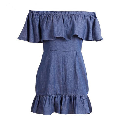 Off Shoulder Ruffle Denim Jumpsuit Romper Blue High Waist