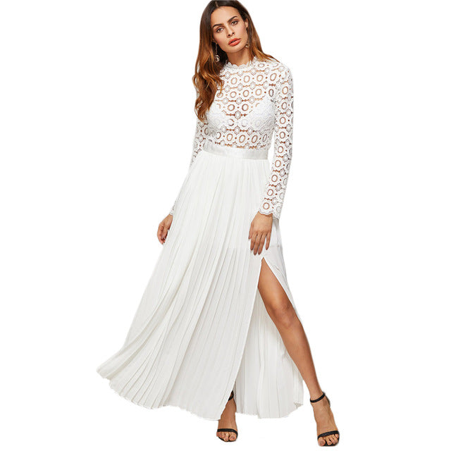 ced5bf390d SheIn Boho Maxi Dress White Eyelet Embroidered Lace Top Split Pleated Dress  Women Spring Long Sleeve