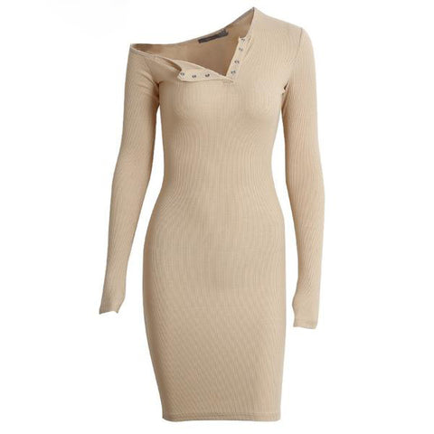Autumn One Shoulder Bodycon Long Sleeve Sexy Dress
