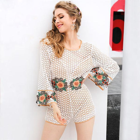 Lace Floral Embroidery Jumpsuit Romper Streetwear Flare Sleeve Backless Playsuits Summer