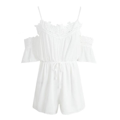 Casual White Lace Off Shoulder Jumpsuit Romper Beach Summer