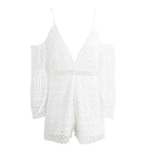 Hollow Out White Lace Jumpsuit Romper Deep V Neck Off Shoulder Short playsuit Causal Summer