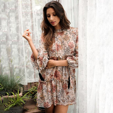 Boho Print Tassel Chiffon Hollow Out Long Sleeve Ruffle Dress