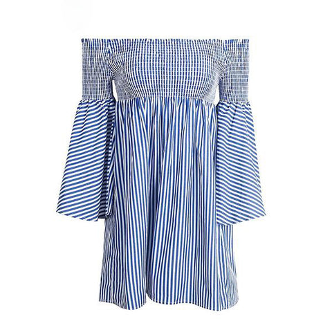 Off shoulder Stripped Casual Summer Dress
