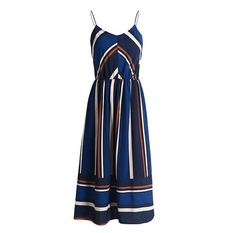 V Neck Straps Striped Summer Long Casual Sleeveless Dress