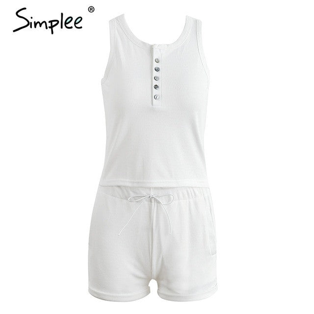 7621454d75d Knitting White Bodycon Jumpsuit Romper Two Piece Suit Sleeveless Summe –  BodyConfetti