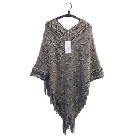 Batwing Sleeve Tassel Hem Knitting Cloak Sweater Autumn Winter Jumper