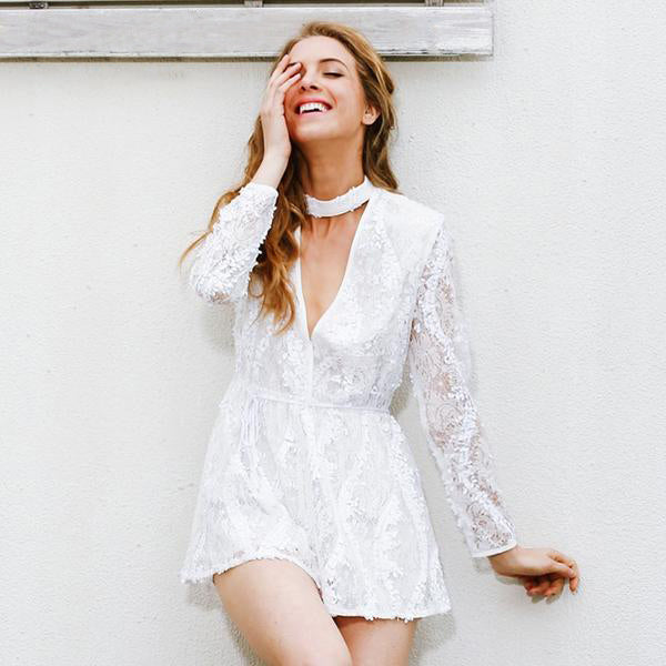 0179a94fb1b8 Halter White Lace Sequined Jumpsuit Romper Deep V Neck Long Sleeve Ove –  BodyConfetti