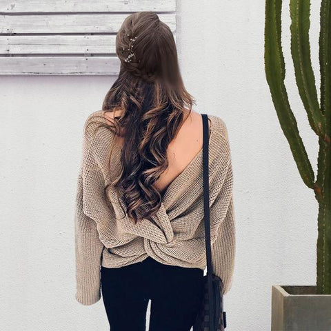 V Neck Sweater Loose Long Sleeve Pull Back Bow Soft Pullovers Thin Sweaters Jumper