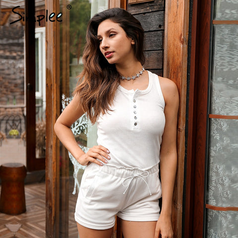 Knitting White Bodycon Jumpsuit Romper Two Piece Suit Sleeveless Summer