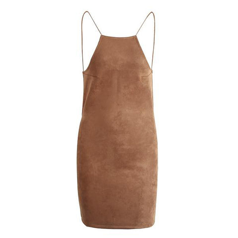 Suede Slim Backless Short Elegant Sleeveless Bodycon Summer