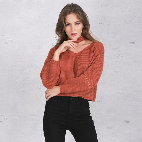 Winter Halter Knitted Warm Sweater Casual Short Black Pullover Jumper
