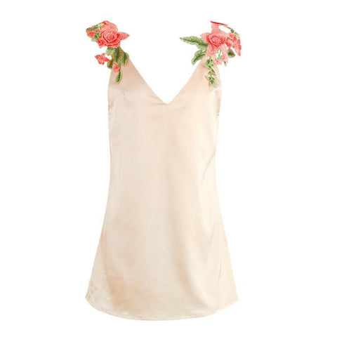 Flower Embroidery V Neck Dress Sleeveless Loose Beach Summer