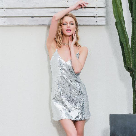 Deep V Neck Silver Sequin Elegant Evening Party Short Casual Sleeveless Summer