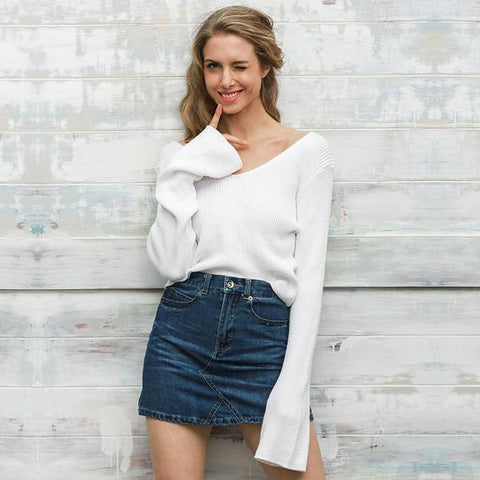 Off Shoulder White Short Knitted Sweater Flare Sleeve Pullover Jumper