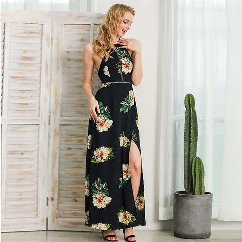 Halter Chiffon Beach Dress Floral Print New Long Summer