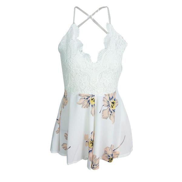 bbdb046a45ad White Lace Floral Jumpsuit Romper with Strap – BodyConfetti