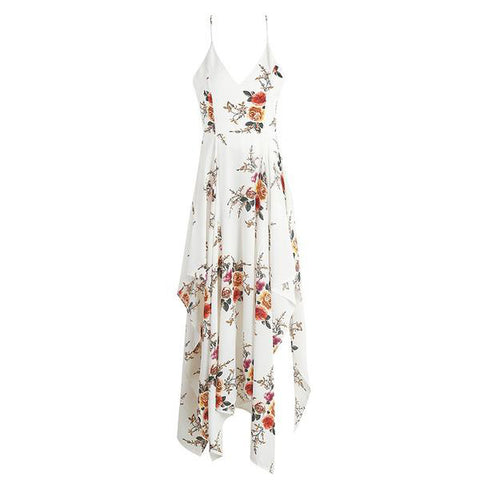 Boho Flower Print Irregular Dress Deep V Neck Backless Split Long Elegant Beach Summer