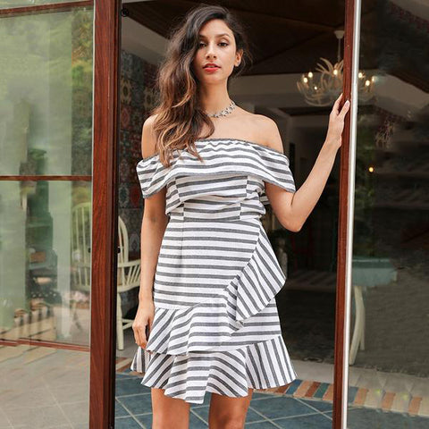 Ruffle Stripe Dress Off Shoulder Short Sleeve Plaid Dress Casual Summer