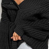 Off Shoulder V Neck Pullover Winter Long Sleeve Thick Black Kintting Sweater Jumper