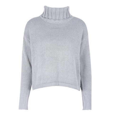 Turtleneck Gray Knitted Winter Sweater Casual Long Sleeve Pullovers Elegant