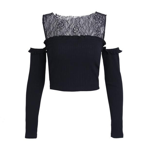 Cold Shoulder Lace Knitting Sweater Elegant Black Crop Top Pullover Jumper