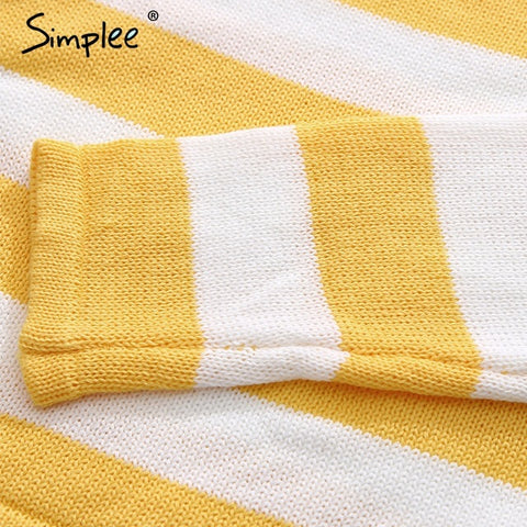 Knitted Stripe Winter Sweater Pullover Casual Crop Top Long Sleeve Elegant Jumper