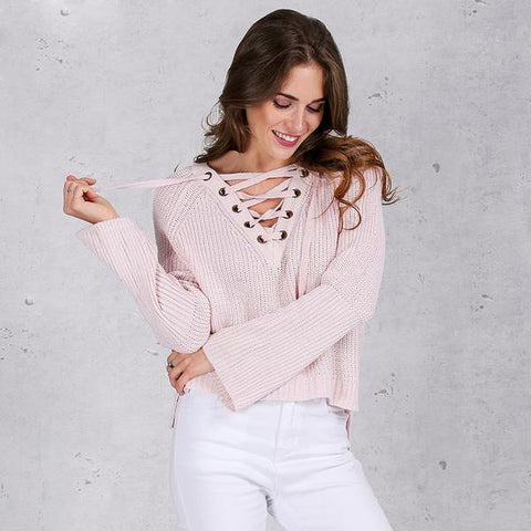 Flare Sleeve Knitted Sweater Casual Lace Up V Neck Pullover Pink Jumpers