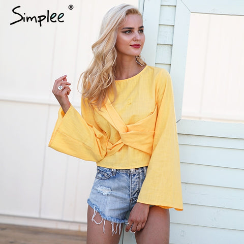 Autumn Cross Flare Sleeve Elegant Casual Short White Summer Tops