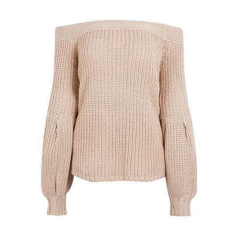 Elegant Off Shoulder Puff Sleeve Knitted Sweater Elastic Casual Pullover Winter Pull Jumper