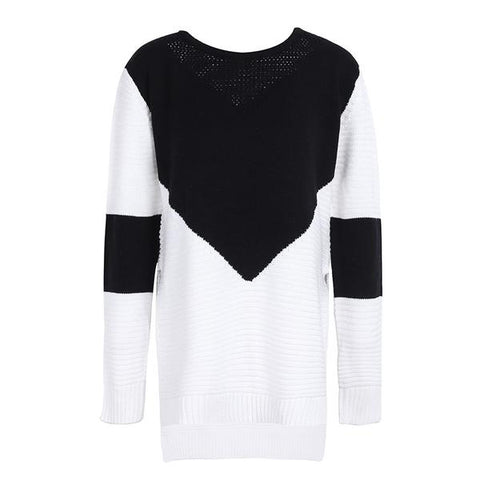 Elegant O Neck Split Knitting Pullover Winter Long Sleeve Patchwork Casual Black Jumper