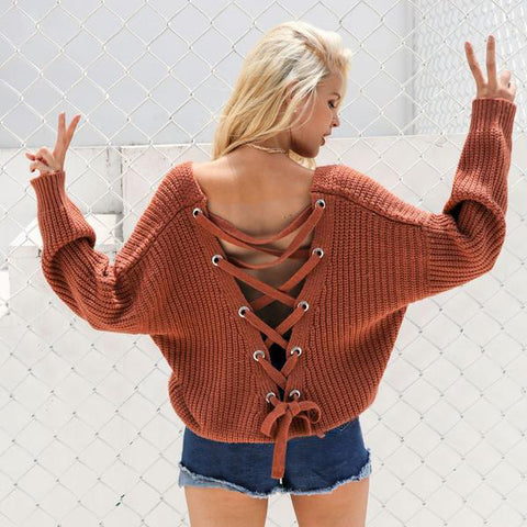 Backless Knitting Pullover Lace Up Winter Sweater Tops Casual Hollow Out Jumper