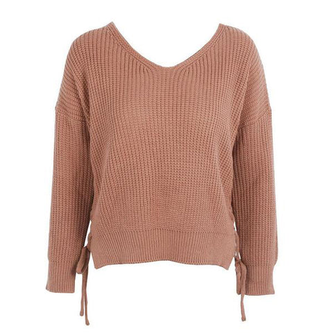 Fashion Lace Up Knitting Pullover Casual Autumn Winter Sweater Jumper